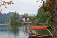 Boat waiting for passengers on Bled Lake in Slovenia Royalty Free Stock Photography