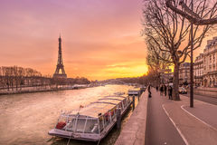 Boat waiting for the Seine river cruise in the shed of the Eiffel tower, Paris, France Stock Photography