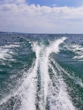 Boat wake on Lake Michigan Royalty Free Stock Photo