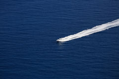 Boat Wake on Mediterranean Sea Royalty Free Stock Photo