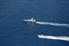 Boat Wake on Mediterranean Sea Royalty Free Stock Photos