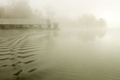 Boat wake, misty morning Royalty Free Stock Photo