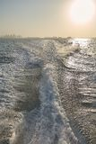 Boat wake, trail in sea after fast moving Stock Photo