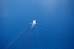 Boat wake view from above Stock Photos