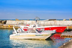Boat for walking and fishing for rent, Paphos. Paphos, Cyprus - July 12, 2017: Boat for walking and fishing for rent, Paphos Stock Photo