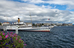 Boat for walks on Lake Geneva, Switzerland Stock Image