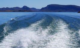 Boat wash on Lake. Boat wash on blue fresh waters of Lake Argyle WA Royalty Free Stock Image