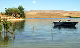 Boat On The Water. In turkish lake stock photos