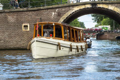 Boat in the water canal in Amsterdam Royalty Free Stock Images