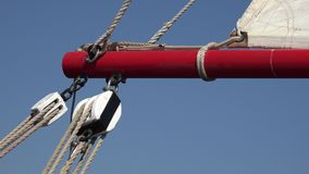 Pully And Ropes Boat Rigging. A Boat or Water Craft stock footage