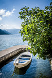Boat in the water garage Royalty Free Stock Image