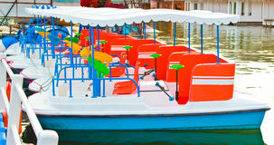 Boat with water gun Stock Photo
