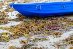 Boat at low tide. A boat without water at low tide royalty free stock photo