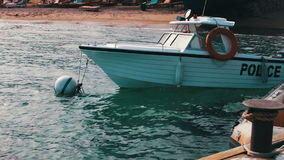 Boat water police moored near the shore in Red Sea stock video