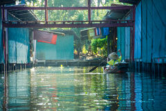 Boat on the water. River Boat Water Channel Thailand Floating Market Paddle Rice Hat Stock Images