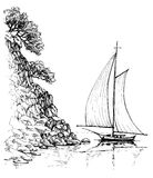 Boat on water sketch Royalty Free Stock Photography