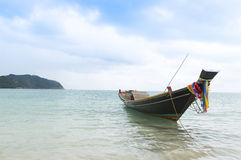 Boat on the water, tropical beach Royalty Free Stock Image