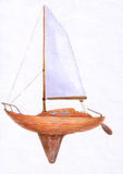 Boat in watercolor. Ship for trip royalty free illustration