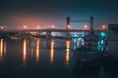 Boat on the waterfront of river at night. Rostov-on-Don. Russia Royalty Free Stock Images
