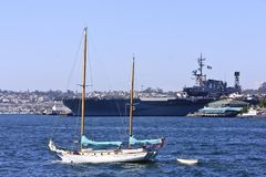 Boat on the waters of San Diego Bay Royalty Free Stock Photography