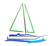 Boat with wave. Hand drawing boat with wave Stock Images
