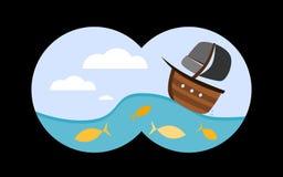 Boat on wave through binoculars. View through binoculars to the sea. Vector illustration in childish cartoon style Stock Photos