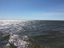Boat Waves on Charlotte Harbour. Punta Gorda Florida Stock Photography