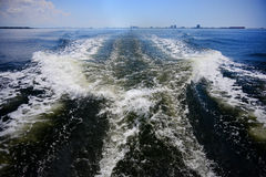 Boat waves Royalty Free Stock Image