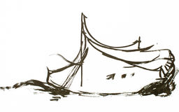 Boat on waves painted sketch Royalty Free Stock Images