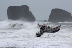 Boat and waves 03. Rescue boat training in rough seas Royalty Free Stock Photos