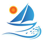 Boat waves and sun stock illustration