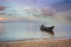 Boat on the waves at sunset, seascape Royalty Free Stock Photography
