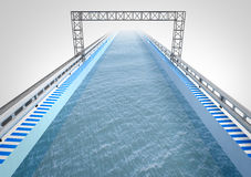 Boat way corridor with water. Illustration Stock Photography