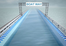 Boat way transportation corridor Royalty Free Stock Photos