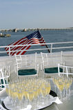 Boat Wedding. Champagne glasses filled for wedding on boat Stock Images