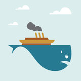 Boat on whale. Vector image of a boat on whale Royalty Free Stock Photo
