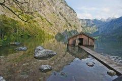Boat Wharf at Obersee lake Royalty Free Stock Photo