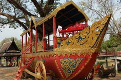 A Boat on Wheels. A unique photo of a boat on wheels.  Used to attract tourists in Cambodia Stock Photography