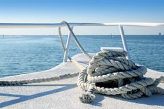 Boat white bow in tropical Caribbean sea Stock Image