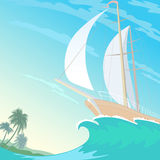 Boat white sail canvas up on wave crest. Blue sky sunny beach palms. Blue clear ocean water. Travel vacation vector. Illustration background Royalty Free Stock Image