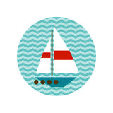 Boat with a white sail on the waves Royalty Free Stock Image
