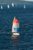 Boat with white sails Royalty Free Stock Photo