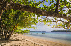 Boat at the white sand beaches in the kingdom of Tonga Royalty Free Stock Photo