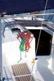Boat winches and sailboat ropes detail. Boat winches and sailboat navigation ropes detail Stock Photos