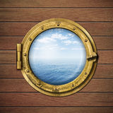 Ship window or porthole with sea or ocean Royalty Free Stock Images
