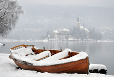 Boat in Winter stock photography