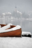 Boat in Winter Stock Photo