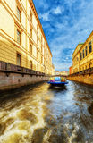 Boat at Winter Canal in Saint Petersburg Russia Royalty Free Stock Photo