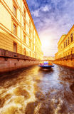 Boat at Winter Canal in Saint Petersburg Russia Royalty Free Stock Images