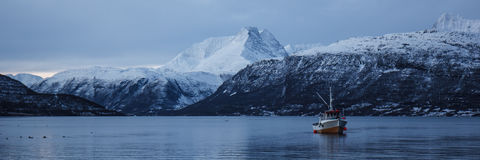 Boat in a winter fjord, Norway Royalty Free Stock Photos